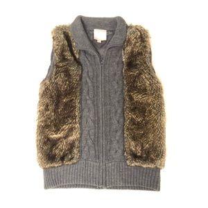 Faux fur knit sweater vest